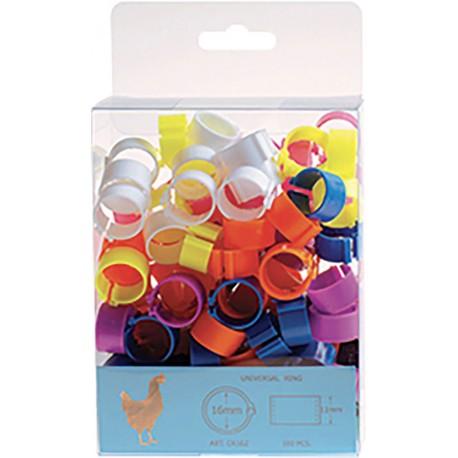 bagues clip 16 mm mélange 10 couleurs x100