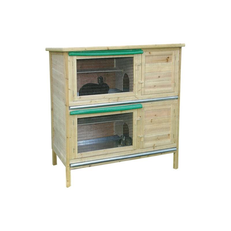 clapier bois 2 etages 116x61x120 cm ufs aviculture. Black Bedroom Furniture Sets. Home Design Ideas